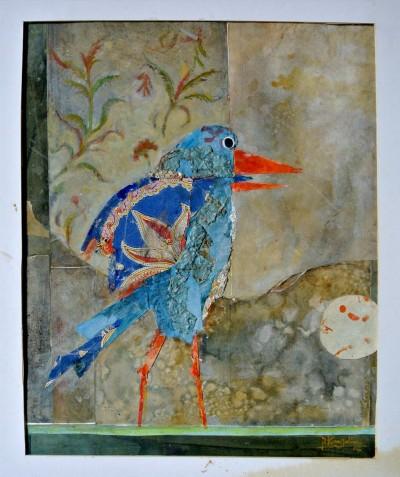 Sans titre (petit oiseau bleu, bec orange)