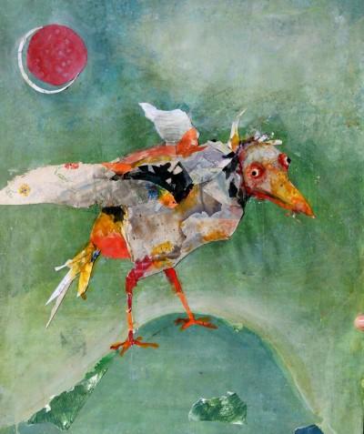 Sans titre (oiseau aux yeux rouges, fond vert)
